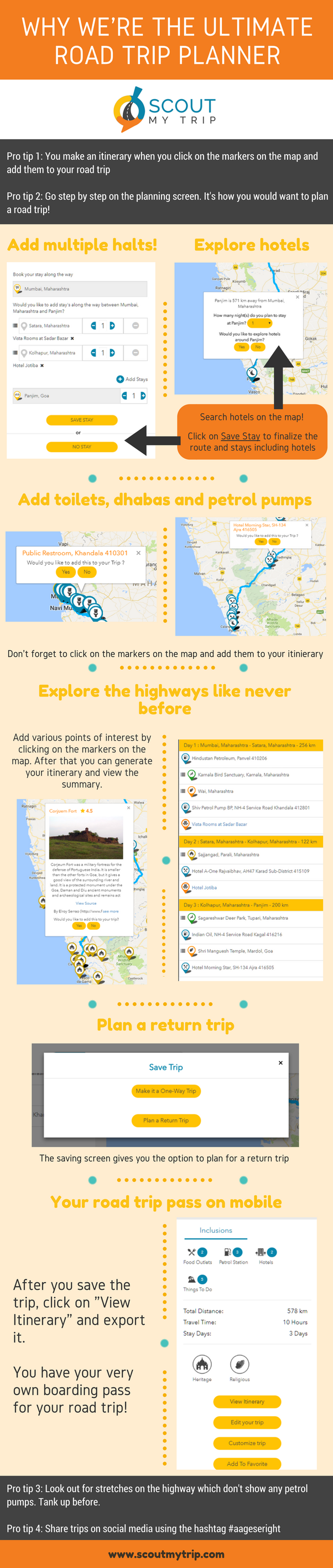 example if there is a route with potholes and bad roads you will get advice from the scoutmytrip road trip planning engine