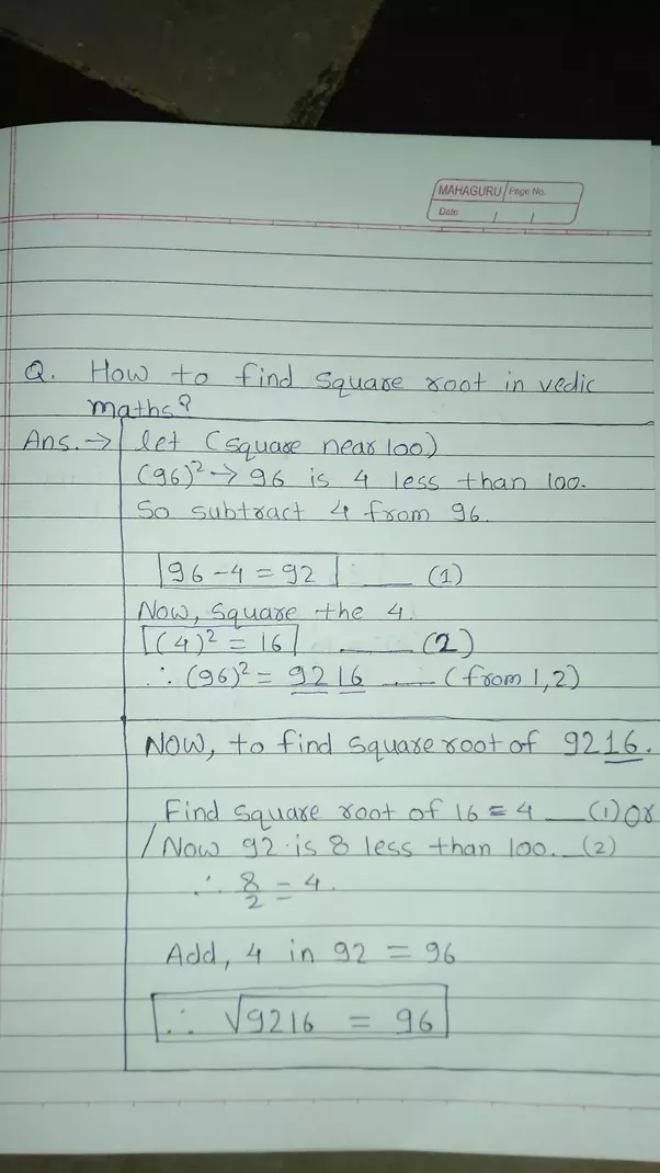 How to find out square root of a number using vedic maths - Quora