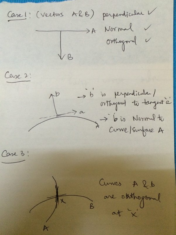 what is the difference between orthogonal normal and perpendicular