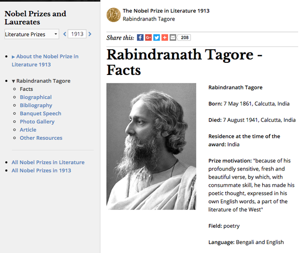 rabindranath tagores nobel prize acceptance speech essay Rabindranath tagore was novels, dramas and essays he was awarded the nobel prize in literature in use of this web site constitutes acceptance of the.