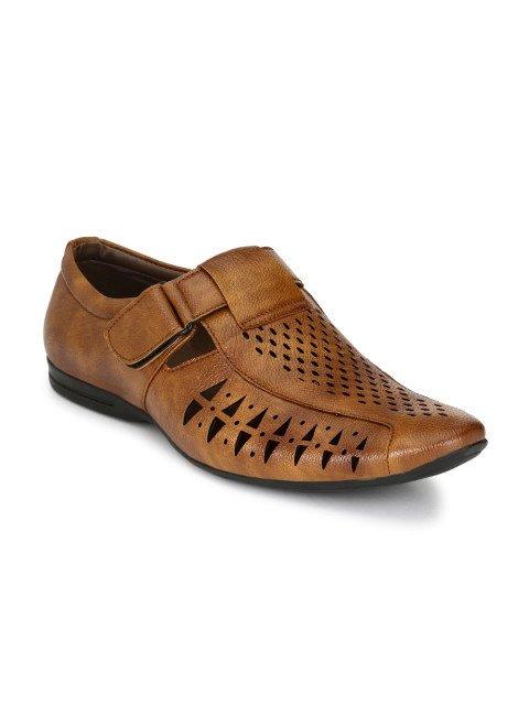 2 Carlton London Men Tan Brown Leather Sandals