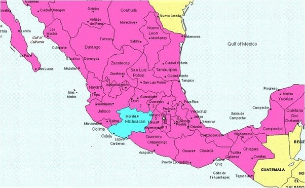 see what are some good maps which show the various regions of michoacan