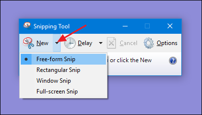 now click on new button and select the screen area that you want to take screenshot you can also select the full screen snip to take the full screens