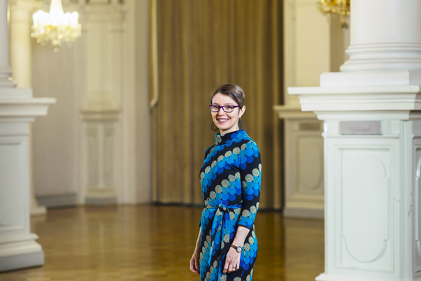 d195148bea49 Something like the dress I'm wearing in this photo, taken at my workplace,  in the hall of the Helsinki City Hall: