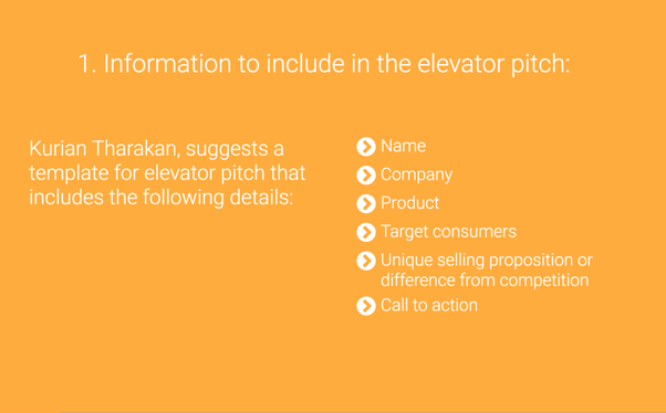 How to successfully conduct an elevator pitch quora for 30 second pitch template