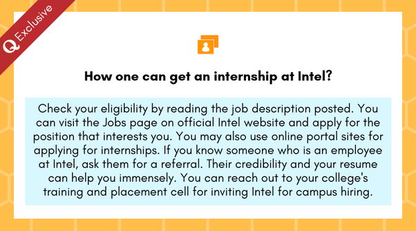 How one can get an internship at Intel? - Quora