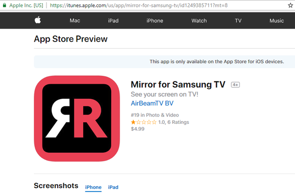 How to do screen mirroring from iPhone to my Samsung smart