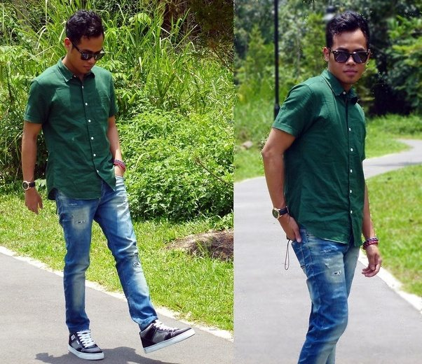 What colour pant match for green colur shirt quora for Matching denim shirt and jeans