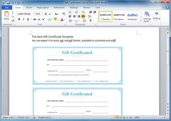 Here Are Some Nice Gift Certificate Templates. You Can Free Download And  Print It.  Gift Certificate Template Word 2007