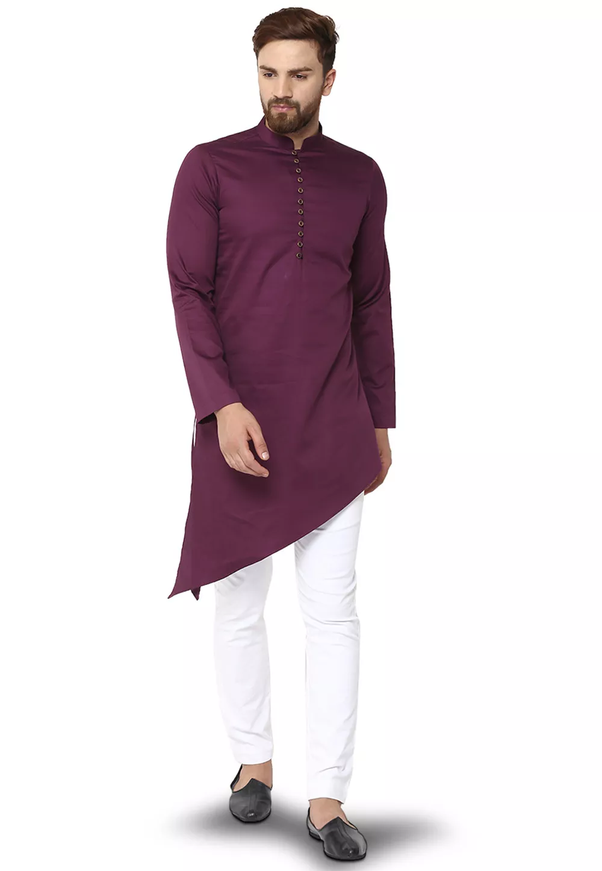 White Color Matches With The Purple Kurta Really Awesome Match