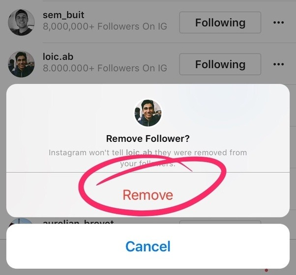 Can i make someone unfollow me on instagram quora click remove instagram will remove this person from your follower list the person being removed will not be notified of this ccuart Image collections