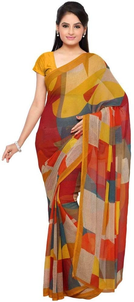 5e8fa87857 Vaamsi Chiffon Saree with Blouse Piece. Palav Fashion Women's Georgette  Saree with Blouse Piece.