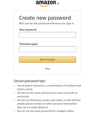 how to change amazon password if forgotten