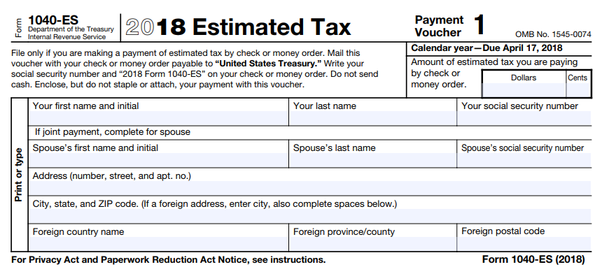 What Is The Form I Need To Send In With My Quarterly Estimated Tax