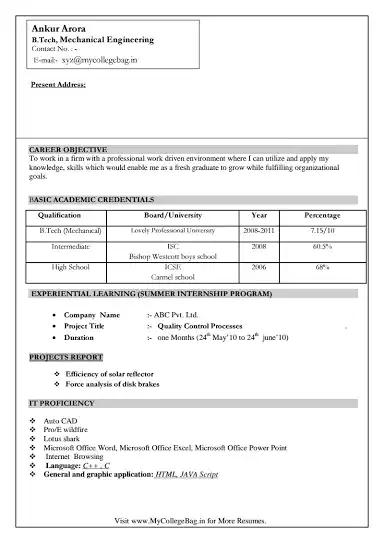 what is the best resume format for be mechanical freshers