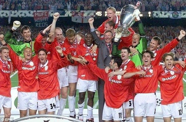 Man Uniteds Players Celebrate Winning The Remarkable 1999 UEFA Champions League Final At Camp Nou In Barcelona