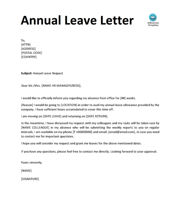 Here Is An Example Letter Template On How To Write Annual Leave