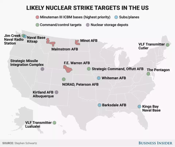Which US states are most vulnerable to nuclear attack? - Quora