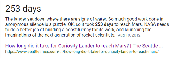 How long did it take for Curiosity Rover to travel to Mars? - Quora