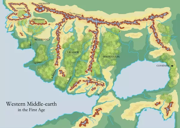 after the end of the first age it was almost all underwater on the other hand the oval inland sea to the east dried up and became the land of mordor