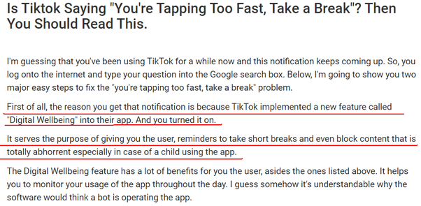 Why Is Tiktok Showing You Re Tapping Too Fast Take A Break Even Though I Opened The App After Hours Quora
