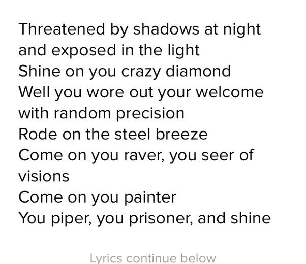 What Do The Lyrics To Pink Floyds Shine On You Crazy Diamond Mean