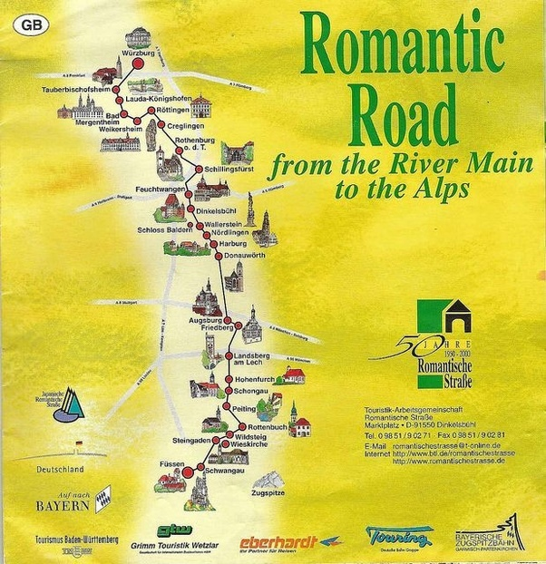 their romantic road information maps and sights which is a 350 kilometres road between wrzburg and fssen in southern germany and links a number of