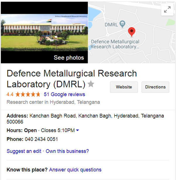 dmrl stands for defense metallurgical research laboratory which is part of drdodefense research development organisation under the ministry of defense