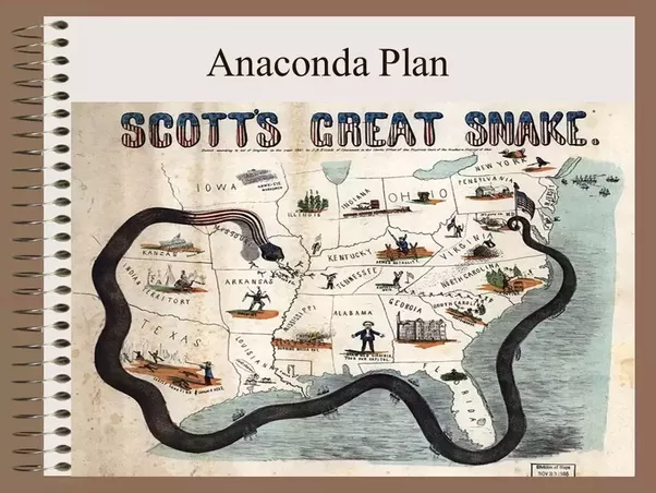 the anaconda plan The anaconda plan was drawn up to end the civil war in favor of the union the plan was adopted in 1862, involving 4 main parts: blockade the coast of the south to prevent the export of cotton, tobacco, and other cash crops from the south and to keep them from importing much needed war supplies.