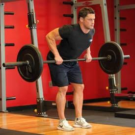 weight lifter doing bent over rolls