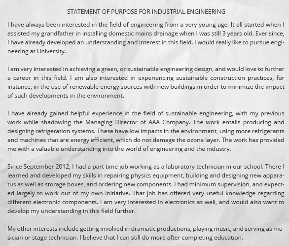 statement of purpose for industrial engineering Fall 2002 personal statement spencer e pace electrical engineering major timbuktu academy scholar southern university and a&m college baton rouge, la 70813.