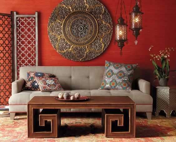 Bold Living Room Designs: Indian Style. Convey Indian Colors Boldly By  Having A Red Wall With A Subtle Pattern That Makes It Even More Interesting.