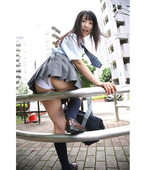 Japanese girl showing her panties