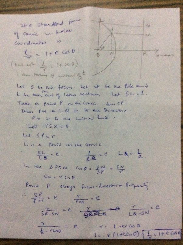 How To Find The Polar Equation Of A Conic In Standard Form Lrl