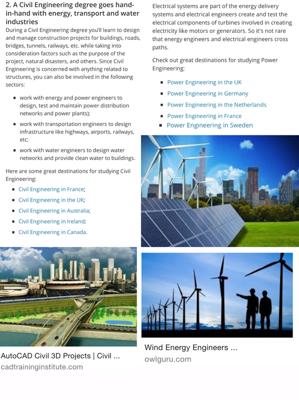 What are the best renewable energy companies where a BEng Civil Eng