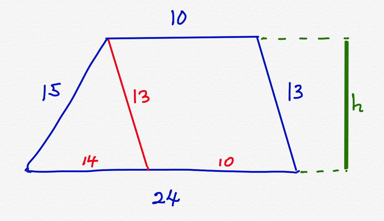What would be the area of a trapezoid with bases 21 and 21 and