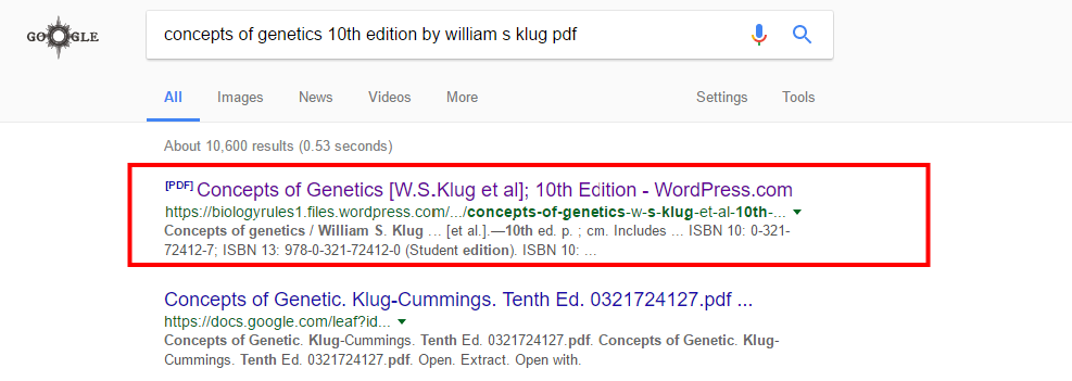 Of pdf edition concepts klug 10th genetics