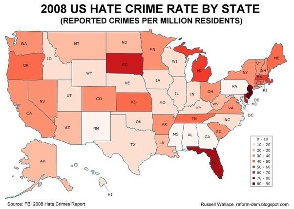 Crime rate map us map