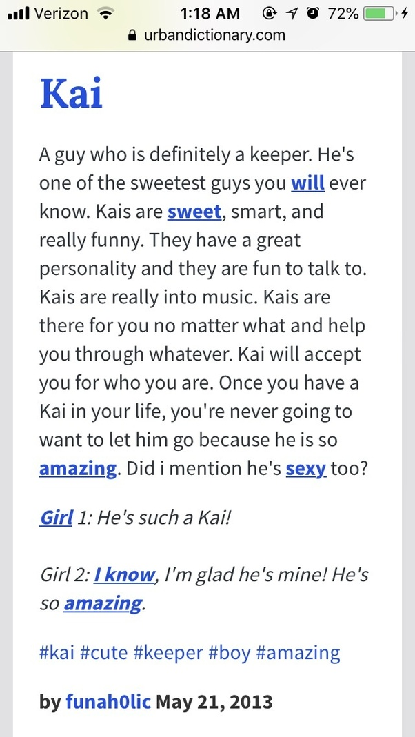 what does kai mean according to the urban dictionary quora