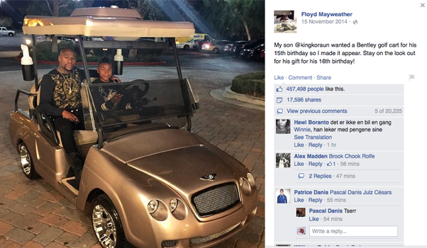 12 Year Old Birthday Party Ideas A Gold Plated Golf Cart According To Floyd Mayweather