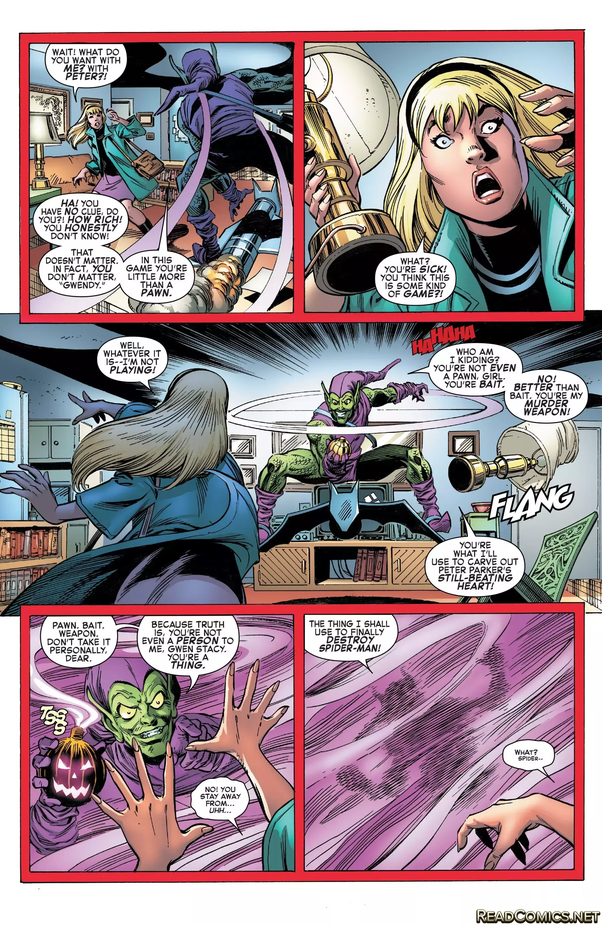 4353f63b Her unconscious body used as the bait for Spider-Man. When she awoke, she  was on the top of the bridge, hearing that Spider-Man (Gwen hated since her  ...