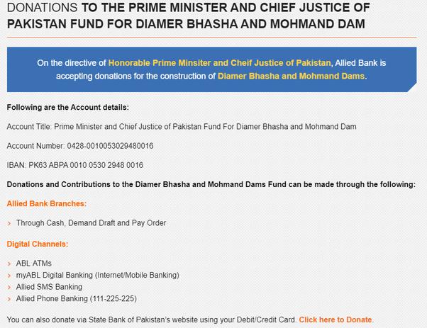 How to donate money online to the Diamer-Bhasha Dam in Pakistan - Quora