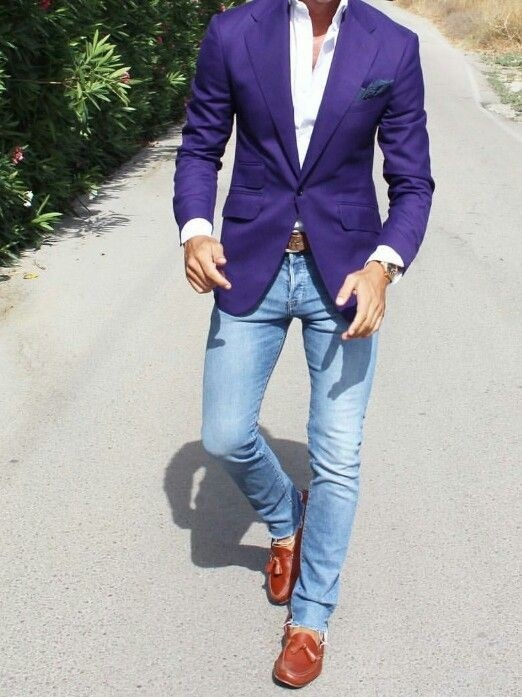 What should I wear with a purple blazer? I thought of