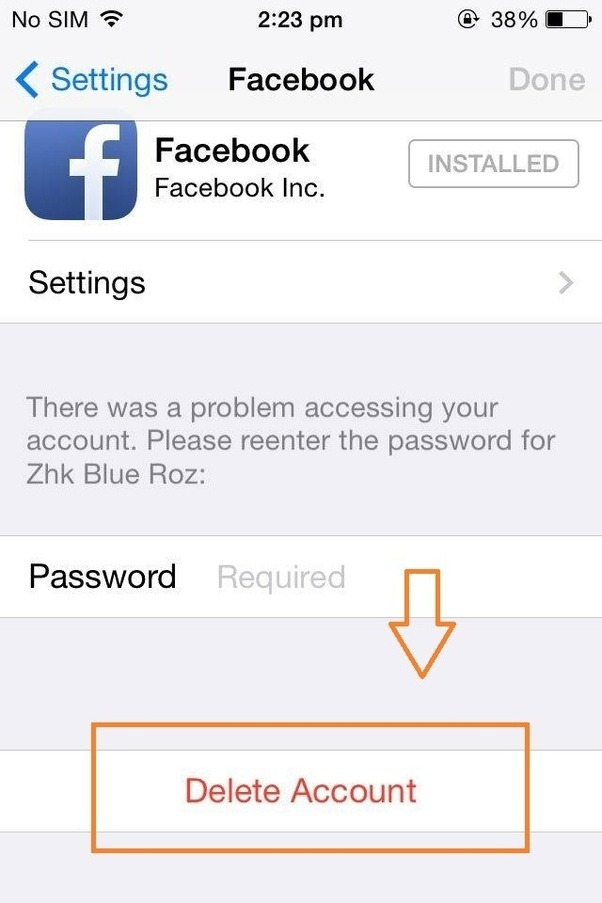 How do i delete my facebook account on iphone