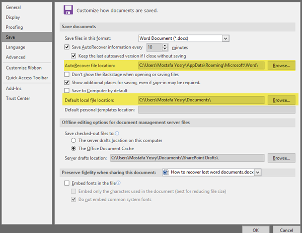 how to recover word document not saved office 365