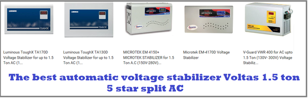 Which is the best automatic voltage stabilizer for my Voltas 1 5 ton