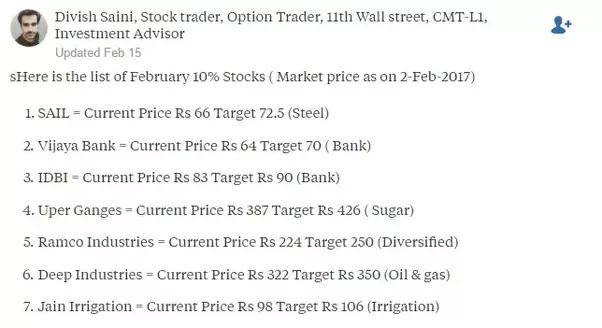 Quelles actions peuvent donner un% de retour 10 en février 2017?