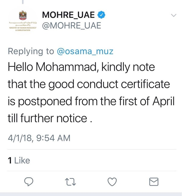 Did i need to attest a police clearance certificate for the uae the ministry of human resources and emiratisation mohre issued a circular in this regard to all tasheel centres processing work permits and employment altavistaventures Gallery
