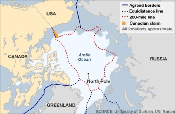 Why is there not a border between Canada and Russia if the Arctic
