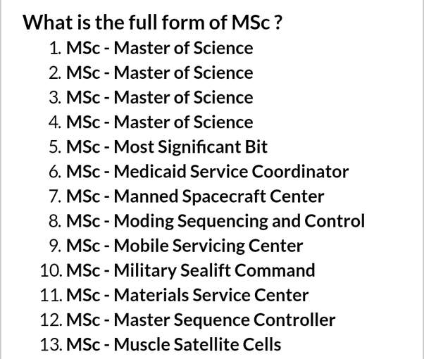 What is the full form of M Sc? - Quora